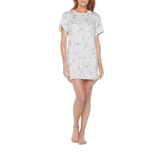 Jaclyn Womens Knit Nightshirt Short Sleeve Round Neck