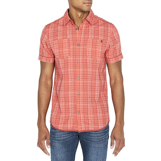i jeans by Buffalo Mens Short Sleeve Plaid Button-Down Shirt
