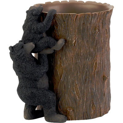 Avanti Black Bear Lodge Wastebasket