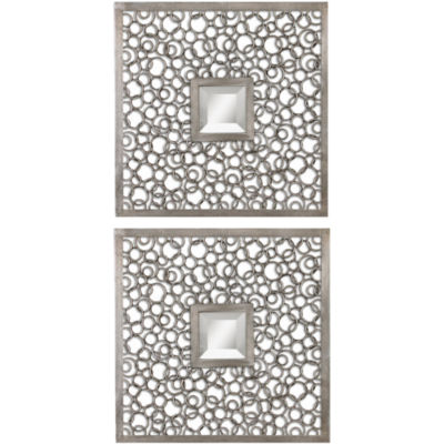 Silver-Tone Rings Set of 2 Square Wall Mirrors