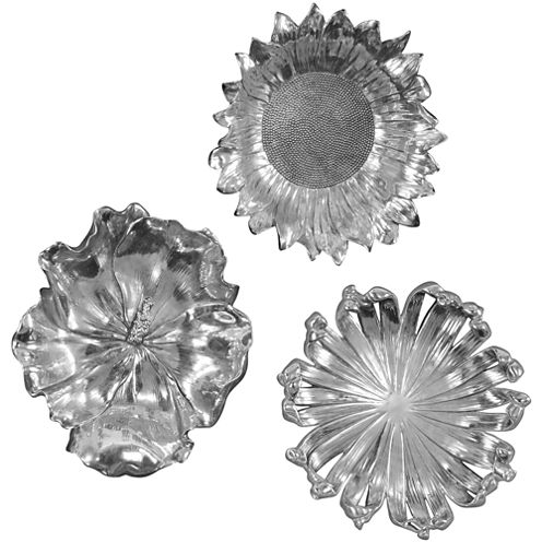Silver-Tone Flowers Set of 3 Wall Decor