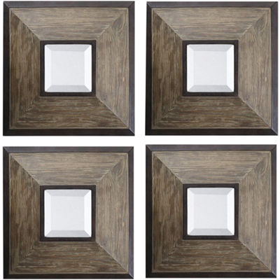 Fendrel Set of 4 Beveled Square Wall Mirrors