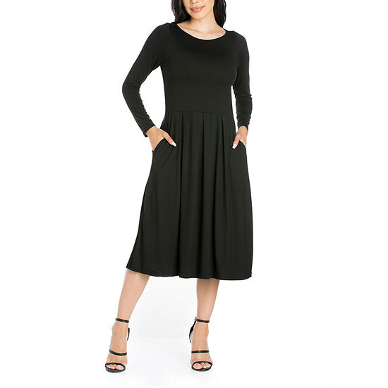 24/7 Comfort Apparel Long Sleeve Midi Fit & Flare Dress