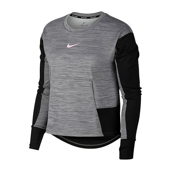 Nike Pacer  Pullover Womens Crew Neck Long Sleeve Sweatshirt