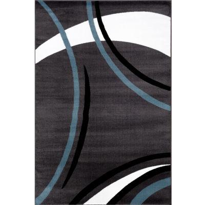 Contemporary Modern Wavy Circles Rectangular Rugs