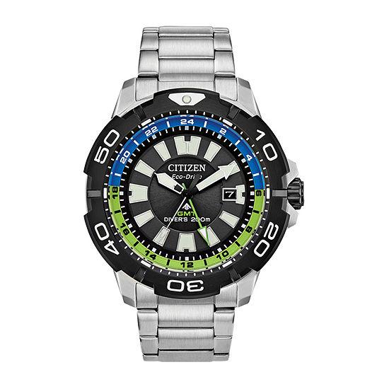 Citizen Promaster Gmt Diver Mens Silver Tone Stainless Steel Bracelet Watch - Bj7128-59g
