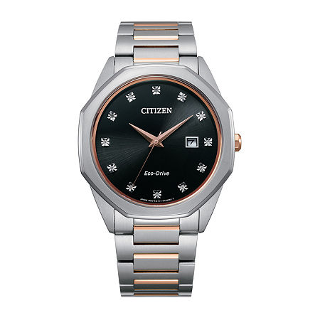 Citizen Mens Diamond Accent Two Tone Stainless Steel Bracelet Watch - Bm7496-56g, One Size