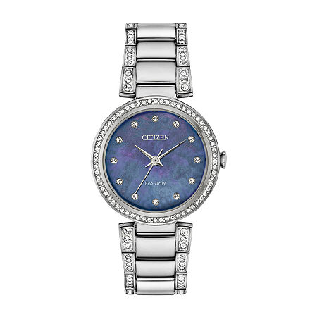 Citizen Womens Crystal Accent Silver Tone Stainless Steel Bracelet Watch - Em0840-59n, One Size