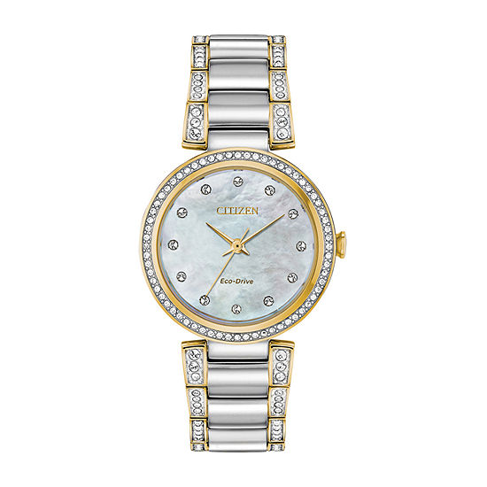 Citizen Silhouette Crystal Womens Crystal Accent Two Tone Stainless Steel Bracelet Watch - Em0844-58d
