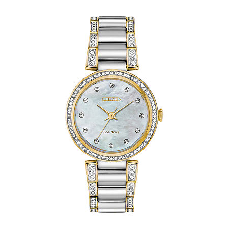 Citizen Silhouette Crystal Womens Crystal Accent Two Tone Stainless Steel Bracelet Watch - Em0844-58d, One Size