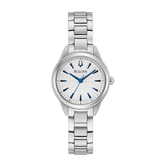 Bulova Sutton Womens Silver Tone Stainless Steel Bracelet Watch-96l285