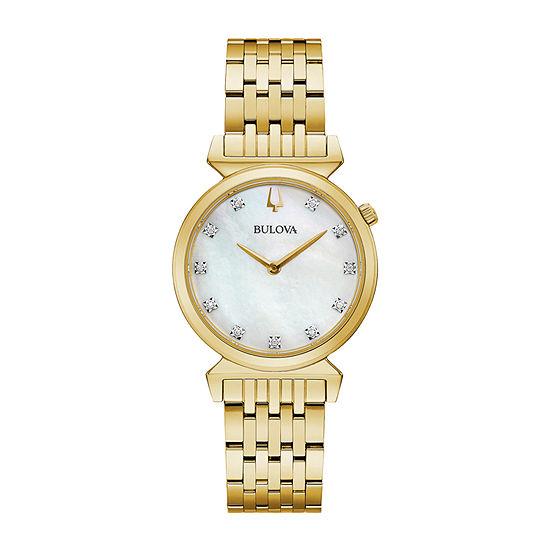 Bulova Regatta Womens Gold Tone Stainless Steel Bracelet Watch - 97p149