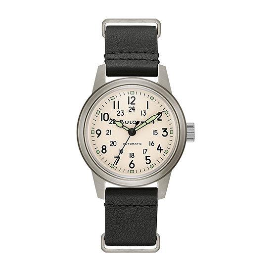 Bulova Classic Mens Black Leather Strap Watch-96a246