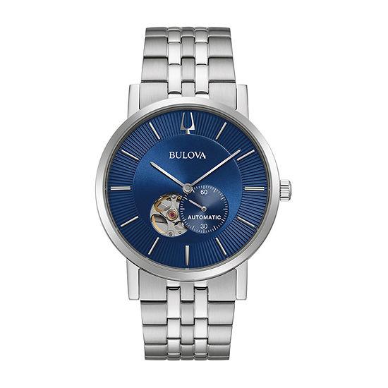Bulova American Clipper Mens Silver Tone Stainless Steel Bracelet Watch-96a247