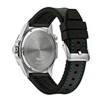 Bulova Marine Star Mens Black Leather Strap Watch-96b337