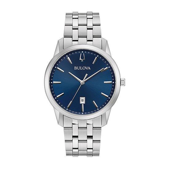 Bulova Sutton Mens Silver Tone Stainless Steel Bracelet Watch - 96b338