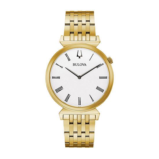 Bulova Regatta Mens Gold Tone Stainless Steel Bracelet Watch-97a153