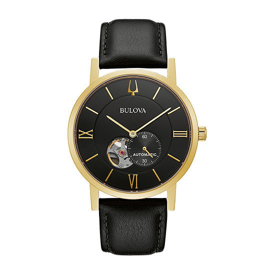 Bulova American Clipper Mens Black Leather Strap Watch-97a154