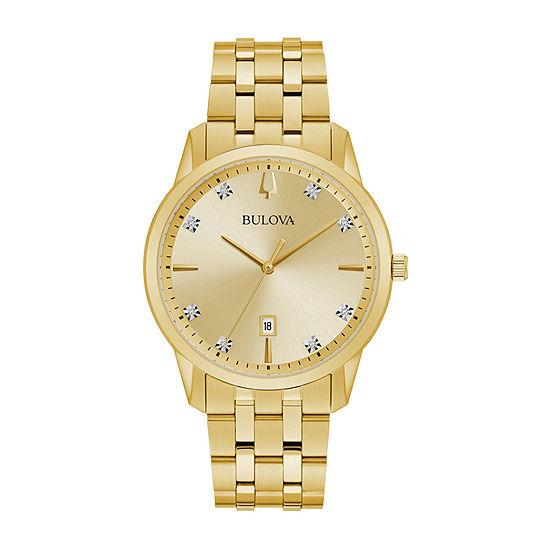 Bulova Sutton Mens Gold Tone Stainless Steel Bracelet Watch-97d123
