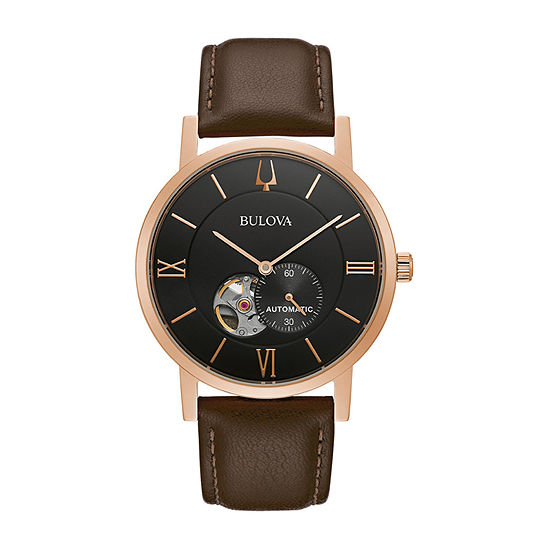 Bulova American Clipper Mens Brown Leather Strap Watch-97a155