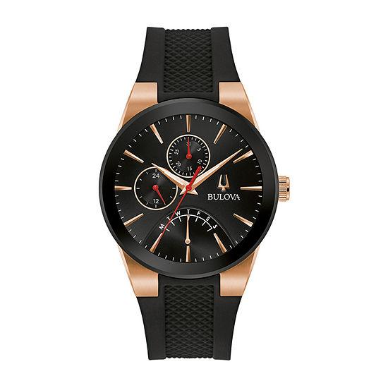 Bulova Futuro Mens Black Strap Watch-97c111
