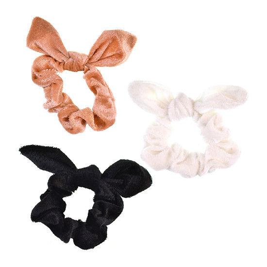 Mixit Velvet Bow Scrunchie 3-pc. Hair Ties