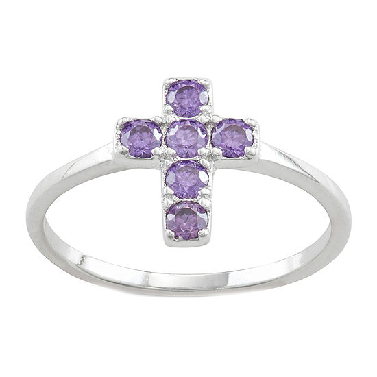 Girls Purple Cubic Zirconia Sterling Silver Cross Cocktail Ring