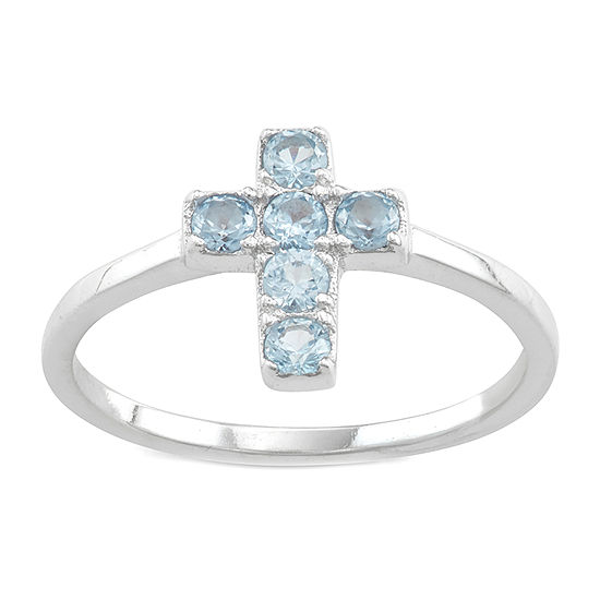 Girls Blue Cubic Zirconia Sterling Silver Cross Cocktail Ring