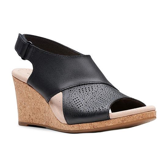 Clarks Womens Lafley Joy Wide Width Wedge Sandals