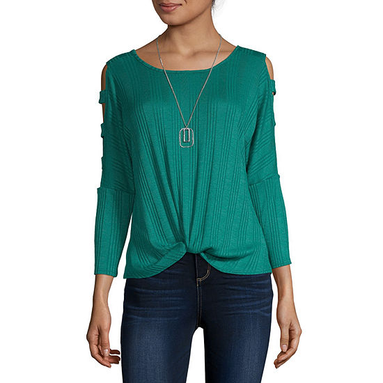Byer California-Juniors Womens Round Neck 3/4 Sleeve Knit Blouse