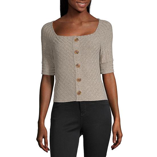 Byer California-Juniors Womens Square Neck Short Sleeve Knit Blouse