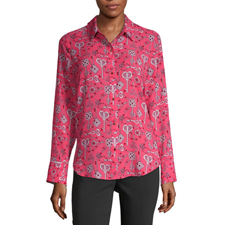 Liz Claiborne Womens Long Sleeve Classic Fit Button-Down Shirt, X-small , Pink