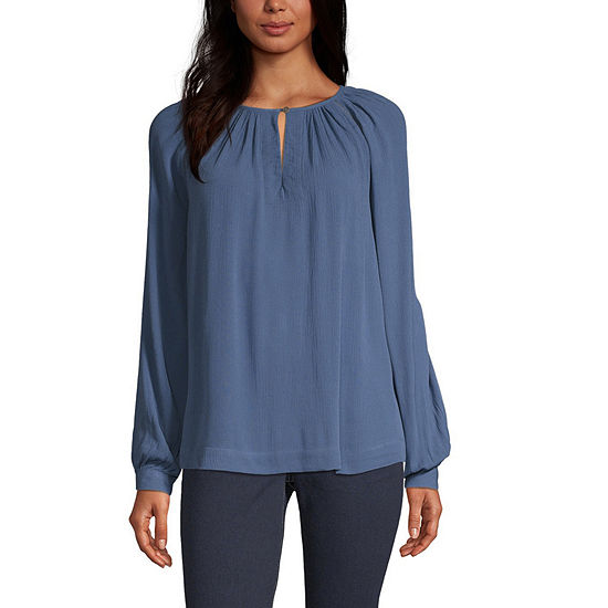a.n.a Womens Keyhole Neck Long Sleeve Peasant Top