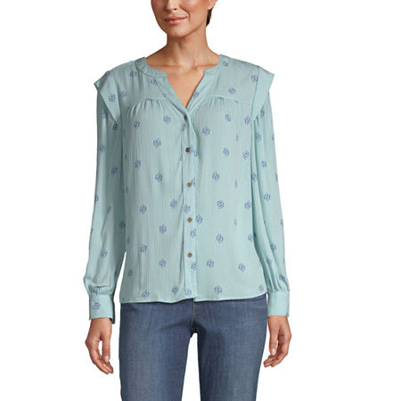 a.n.a Womens Split crew Neck Long Sleeve Peasant Top, X-small , Blue