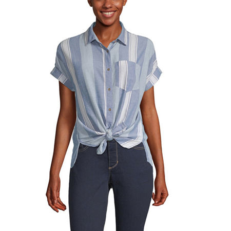 a.n.a Womens Short Sleeve Camp Shirt, Small , Blue