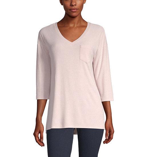 a.n.a-Womens V Neck 3/4 Sleeve T-Shirt