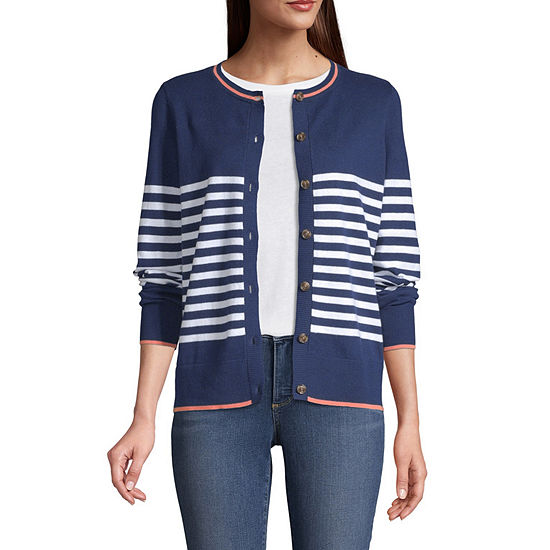 St. John's Bay Womens Crew Neck Long Sleeve Button Open Front Striped Cardigan