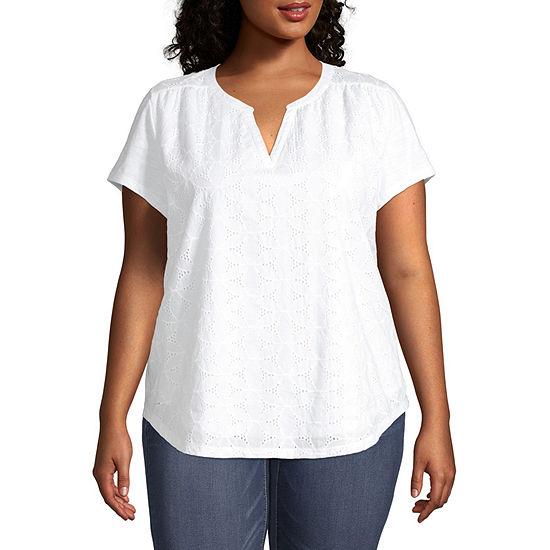 St. John's Bay Plus-Womens Split Crew Neck Short Sleeve T-Shirt