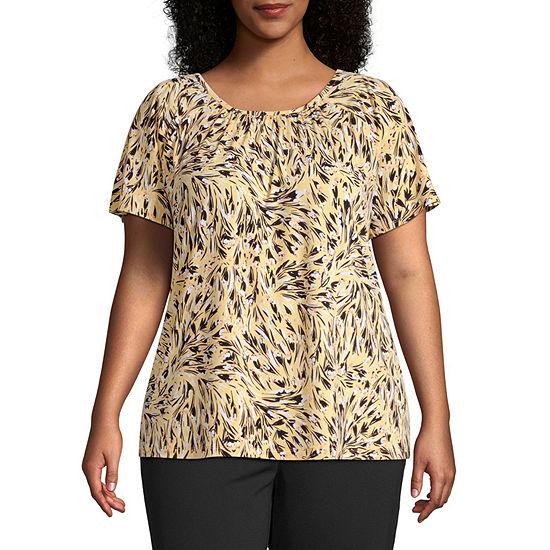 Liz Claiborne Short Sleeve Pintuck Blouse - Plus