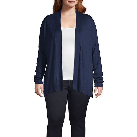 Liz Claiborne Open Ribbed Cardigan - Plus