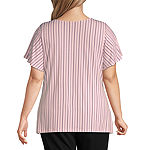 Liz Claiborne Draped Flutter Top-Plus