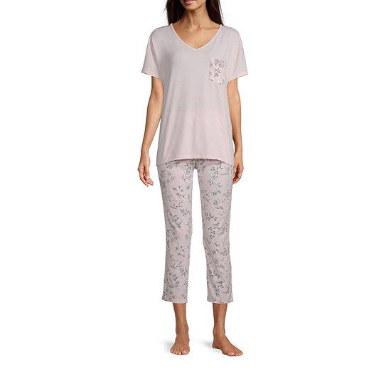 Liz Claiborne Womens 2-pc. Short Sleeve V Neck Capri Pajama Set