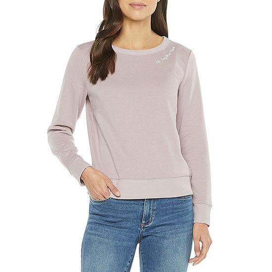 a.n.a Tall Womens Round Neck Long Sleeve Sweatshirt