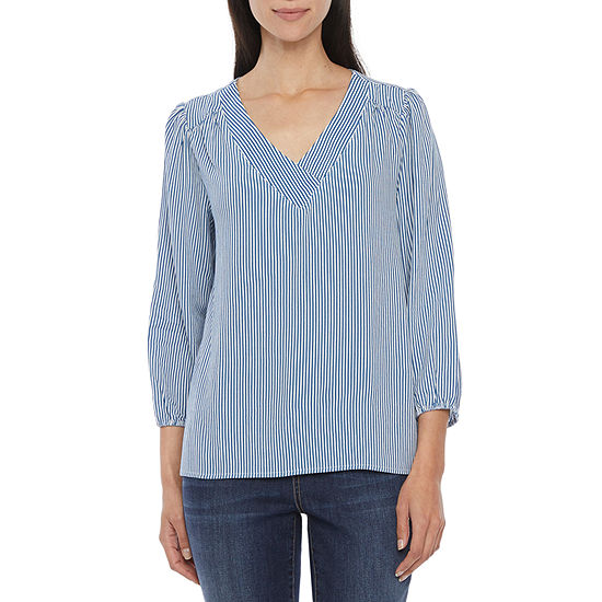 St. John's Bay Womens V Neck 3/4 Sleeve Blouse