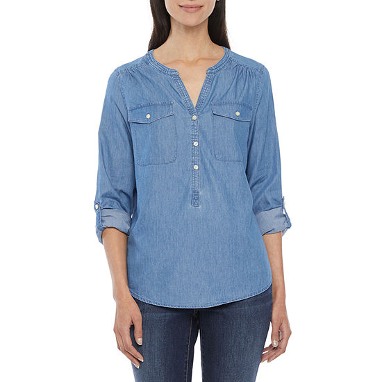 St. John's Bay-Tall Womens Long Sleeve Regular Fit Button-Down Shirt
