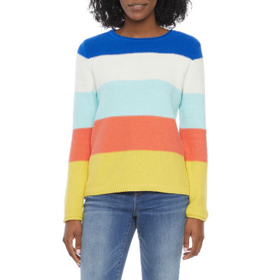 St. John's Bay Womens Crew Neck Long Sleeve Striped Pullover Sweater