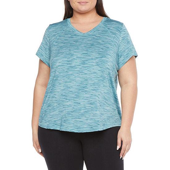 Xersion Womens V Neck Short Sleeve T-Shirt Plus