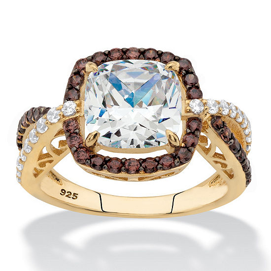 Diamonart Womens 3 CT. T.W. White Cubic Zirconia 14K Gold Over Silver Square Engagement Ring