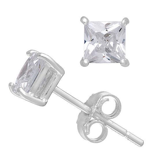 1/3 CT. T.W. White Zirconia 14K White Gold 4mm Square Stud Earrings