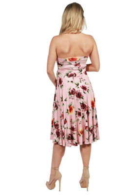 24Seven Comfort Apparel Melina Floral Strapless Maternity Dress - Plus